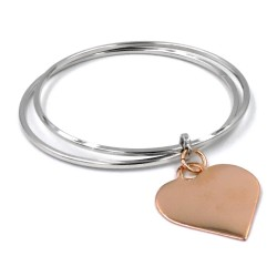 925 Sterling Silver Bangle Bracelet with Heart Pendant