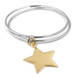 925 Sterling Silver Bangle Bracelet with Star Pendant