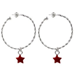925 Sterling Silver Torcion Hoop Earrings with Red Star Pendant
