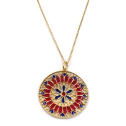 Solid Silver Gilt Necklace with Red and Blue Rose Window Pendant