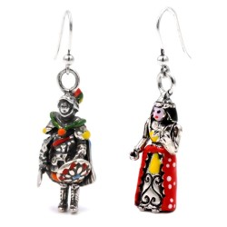 Solid Silver Sicilian Puppets Earrings