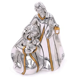 Holy Family Silver Plated Resin Sculpture