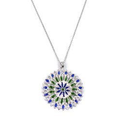 Solid Silver Necklace with Green and Blue Rose Window Pendant