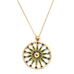 Solid Silver Gilt Necklace with Green and Blue Rose Window Pendant