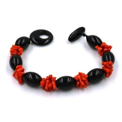 Coral and Oval Onyx Stones Bracelet
