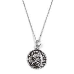 Memento Audere Semper Solid Silver Necklace with Medal