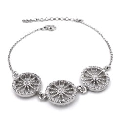 Sterling Silver Sicilian Cart Wheels Bracelet with White Zirconia