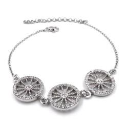 Sterling Silver Sicilian Cart Wheels Bracelet with White Zirconia