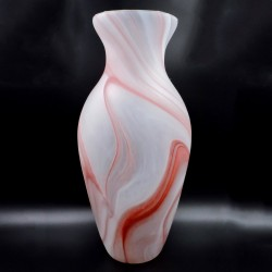 White Satin with Red Veins Murano Glass Amphora Vase