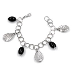 925 Sterling Silver Bracelet with Onyx Stones and Pendants