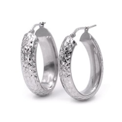 925 Sterling Silver Oval Earrings Diamond Effect