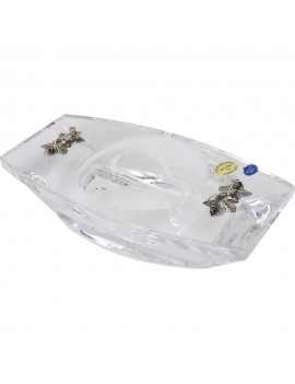 Crystal Rectangular Ashtray with Sterling Silver Vine Leaves