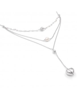 925 Sterling Silver 3 Chockers Necklace with Hert Pendant and Pearls