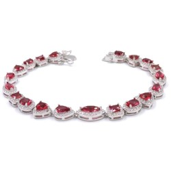 925 Sterling Silver Bracelet with Red Zircons Mix