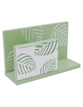 Green Wood Letter Holder in Silver Plate with Leaves Decor