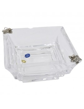 Crystal Square Ashtray with Sterling Silver Vine Leaves