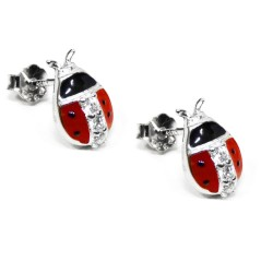 925 Sterling Silver Ladybug Earrings with White Zircons by Damiano Argenti