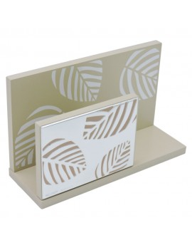 Dove-Gray Wood Letter Holder in Silver Plate with Leaves Decor