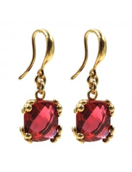 Gold Plated Sterling Silver Pendant Earrings with Red Zirconia