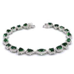 925 Sterling Silver Bracelet with Green Zircons Mix