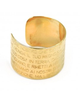 Gold Plated Sterling Silver Band Ring with Lord's Prayer