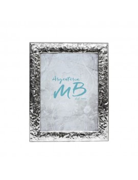 Silver Picture Frame Glossy Creased Effect cm 9 X 13