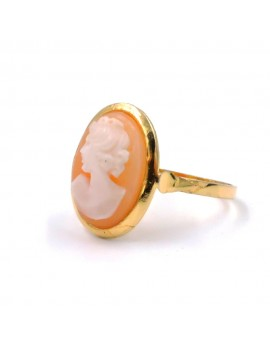 Gold Plated Sterling Silver Ring with Oval Cameo