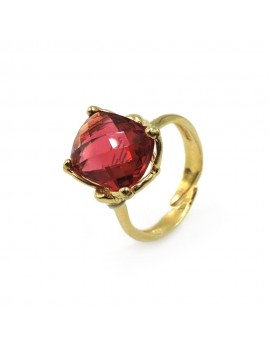 Gold Plated Sterling Silver Ring with Orange Stone