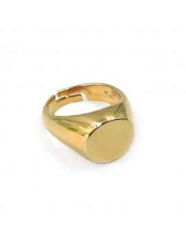 Customizable Gold Plated Sterling Silver Round Shaped Chevalier Ring
