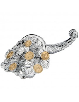 Silver Coated Resin Cornucopia with Euro Coins Sculpture