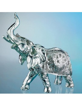 Circus Elephant Silver Coated Resin Sculpture