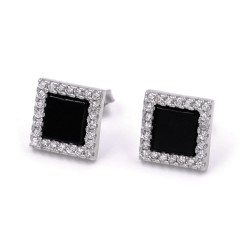 925 Sterling Silver Square Earrings with Onyx