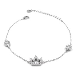 925 Sterling Silver Crown Bracelet with white zircons