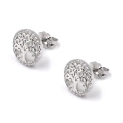925 Sterling Silver Round Tree of Life Earrings
