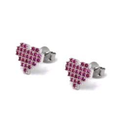 Orecchini Cuore Pixel in Argento 925 con Zirconi Rosa
