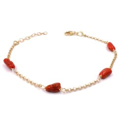 925 Sterling Silver Gold Plated Bracelet with Red Coral