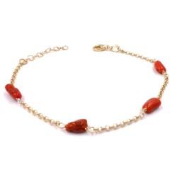Bracciale in Argento 925 Placcato Oro Giallo e Corallo Rosso