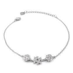 925 Sterling Silver Hashtag Bracelet with white zircons