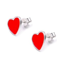 Red Enamelled 925 Sterling Silver Heart Earrings