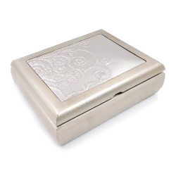 Desiree Antique Effect Wooden Jewelry Box with 925 Sterling Silver Cover