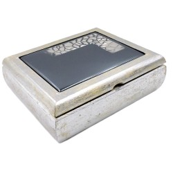 Diamond Black Wooden Jewelry Box with Black 925 Sterling Silver Cover