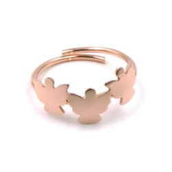 925 Sterling Silver Pink Gold Angels Ring