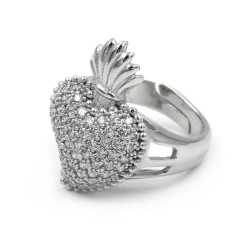 925 Sterling Silver Holy Heart Ring with White Zircons