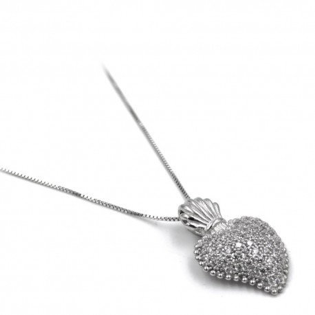 925 Sterling Silver and White Zircons Holy Heart Necklace