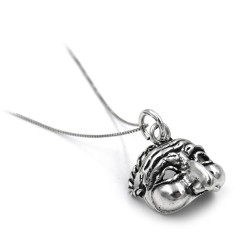 Solid Silver Necklace with Mask Pendant