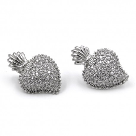 Sacred Heart Earrings made of 925 Sterling Silver and White Zircons