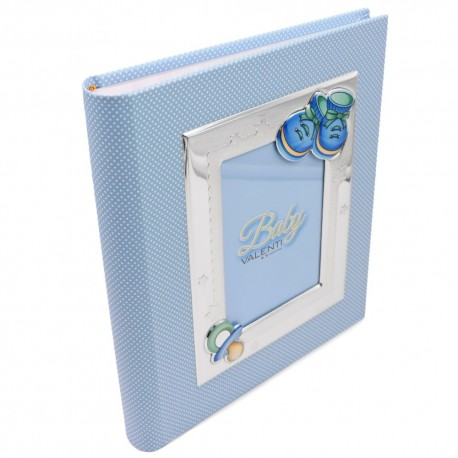 Blue Photo Album for Baby Boys with Pacifier and Shoes
