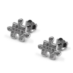925 Sterling Silver Puzzle Card Earrings with White Zircons
