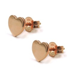 Pink Gold Plated 925 Sterling Silver Heart Stud Earrings