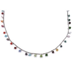 925 Sterling Silver Necklace with Colored Zircons